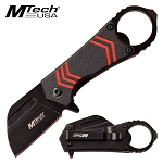Mtech Pocket Knife with Bottle Opener Spring Assisted Knife Black Red
