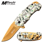 Mtech Pocket Knife Dollar Handle Spring Assisted Knife Gold
