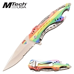 Mtech Rainbow Spring Assisted Knife Bottle Opener Pocket Knife