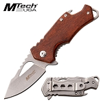 Pakkawood Handle Pocket Knife Bottle Opener Spring Assisted Knife