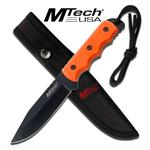 Mtech Full Tang Fixed Blade Knife with Orange Handle, Lanyard, Sheath