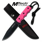 Mtech Full Tang Fixed Blade Knife with Pink Handle, Lanyard, Sheath