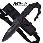 Fixed Blade Knuckle Handle Tactical Knife - Black Handle Drop Point Blade