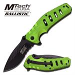 Mtech Ballistic 5 Inch Spring Assist Knife - Green G10 Grip Handle