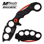 Mtech Ballistic Karambit Knuckle Spring Assisted Folding Knife - Black Red