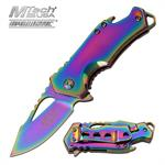MTech USA Ballistic Bottle Opener Spring Assisted Knife Rainbow Blade