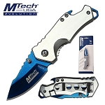 Mtech Pocket Knife Blue Blade Bottle Opener Spring Assisted Knife in Clamshell