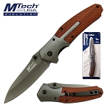 Mtech Spring Assisted Knife Wood and Stainless Steel Handle in Clamshell
