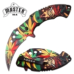 Karambit Knife with Marijuana Leaf Spring Assisted Knife