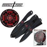 Perfect Point 3 Piece Throwing Knife Set with Target Board - Black Dragon