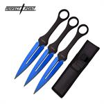 Perfect Point 7 Inch 3 Piece Throwing Knife Set Blue Electro Plated Blade