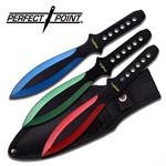 Perfect Point 3 Piece 9 Inches Length Multi Color Throwing Knife Set with Sheath