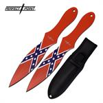 Perfect Point 2 Piece Set 8 Inch Throwing Knives Confederate Flag