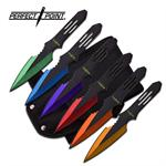 Perfect Point 6 Piece Multi Color Throwing Knife Set - 5.5 Inch Length