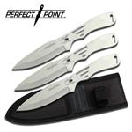 8 Inch Silver Throwing Knife 3 Piece Set  with Spider Graphic