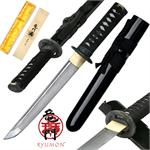 Ryumon Raijin Hand Forged Damascus Carbon Steel Tanto with Black Scabbard