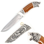 Alaskan Bear Head Dagger Fixed Blade Hunting Knife With Scabbard