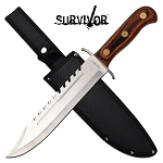 Survival Knife 16 Inch Big Bad Bowie Knife Brown Pakkawood Handle