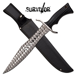 Survivor Fixed Blade Knife 17.25 inch Bowie Survival Knife Black Handle