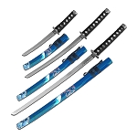 Katana Sword 3 Piece Set Samurai Sword Blue Painted Scabbard