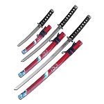 Katana Sword 3 Piece Set Samurai Sword Red Painted Scabbard