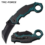 Spring Assisted Karambit Knife Black Green Handle