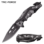 Tac Force Tactical Knife Gray Camo Spring Assisted Knife