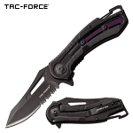 Tac Force Pocket Knife Black Purple Aluminum Handle Spring Assisted Knife