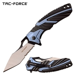 Tac Force Pocket Knife 8.5 Inch Spring Assisted Knife Blue Black Handle