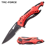 Tac Force Pocket Knife Red Spring Assisted Knife Bottle Opener