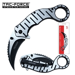 Tac Force Karambit Spring Assisted Knife Stone Wash in Pack