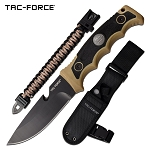 Camping Adventure Fixed Blade Survival Knife Tan Black Handle