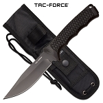 Tac Force Bowie Knife 9.8 Inch Fixed Blade Knife Black Rubber Handle
