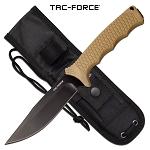 Tac Force Bowie Knife 9.8 Inch Fixed Blade Knife Tan Rubber Handle