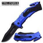 Military Navy Rescue Spring Assisted Knife - Blue