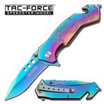 Dragon Rainbow Finish Rescue Style Assisted Opening Folder Knife