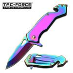 Tac-force Tactical Rescue Spring Assisted Knife with 2.7 Inch Blade Full Rainbow Titanium