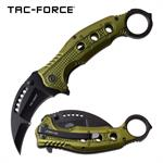 Karambit Thumb Ring Spring Assisted Folding Pocket Knife Green