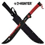 Z Hunter 25 Inches Fixed Blade Machete Knife - Red Blood Splatter Blade