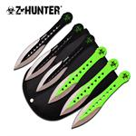 Z-Hunter 6 Inch Holes Design 6 Piece Throwing Knife Set - Black Green