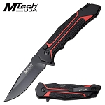 Mtech Two Tone Handle Manual Folding Pocket Knife Black Red