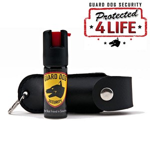 Black Personal Defense Pepper Spray OC-18 1.2oz With Leather Case