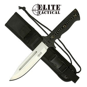Elite Tactical  Bowie Knife12 Inch Fixed Blade Knife Micarta Handle