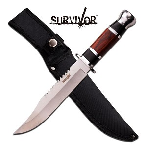 Survivor 12 Inch Satin Finished Fixed Blade Knife - Black Brown Wood Handle