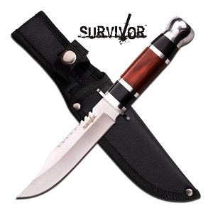 Survivor 10 Inch Satin Finished Fixed Blade Knife - Black Brown Wood Handle