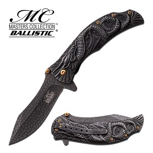 Masters Collection Ballistic Dragon Handle Spring Action Assisted Knife - Stone Wash
