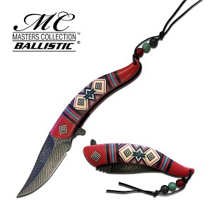 Master Ballistic Feather Spring Assisted Opening Knife - Red Pattern