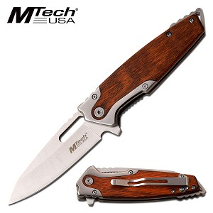 Spring Assisted Pocket Knife Steel and Brown Pakka Wood Handle