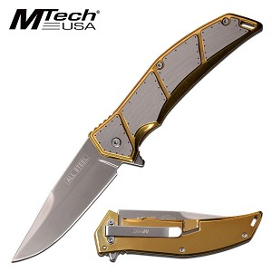 Mtech Knife Spring Assisted Knife Stainless Steel Gold Handle