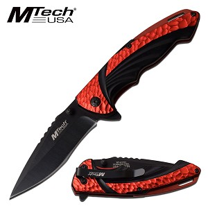 Everyday Carry Spring Assisted Pocket Knife Red Aluminum Handle